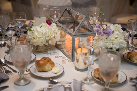 Beautiful table set for wedding guests Stok Fotoğraf
