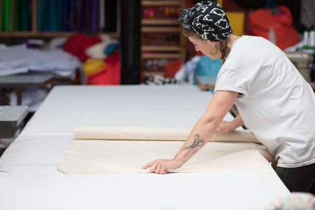 工場環境で生地を圧延若い刺青女性の裁縫師 写真素材 - 67419146