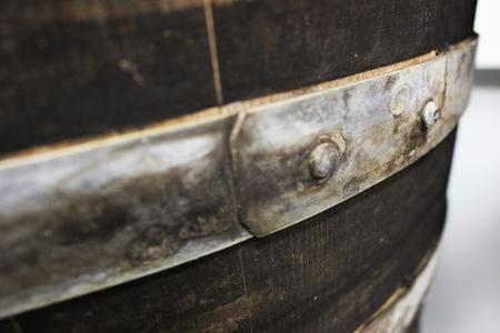 wine barrel bracket Stock Photo