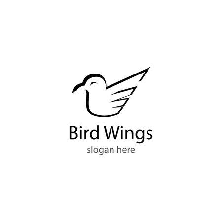 Bird wings logo template vector icon design