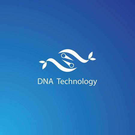 DNA technology logo template vector icon design