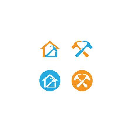 Hammer logo template vector icon illustration Stock Illustratie