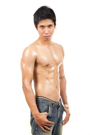 asian bodybuilder: man looking at camera without wearing clothes