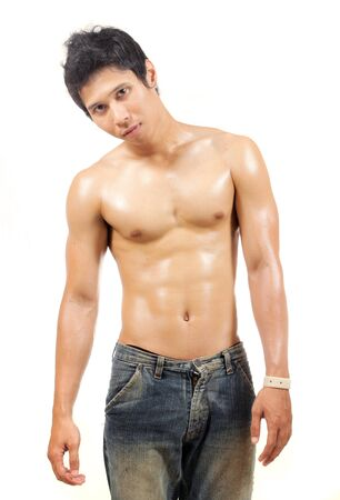 asian bodybuilder: young man showing his body Stock Photo