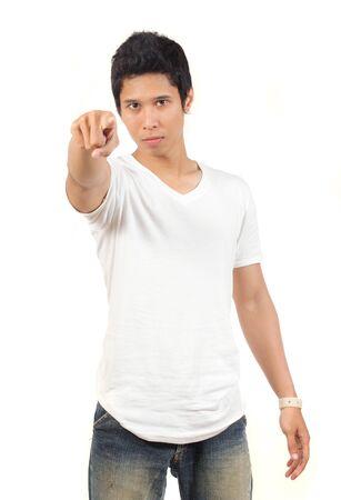 young asian man pointing at camera photo