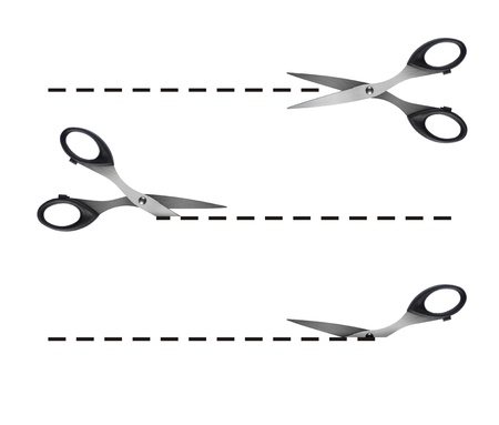 metal cutting: scissors cutting black dashed lines
