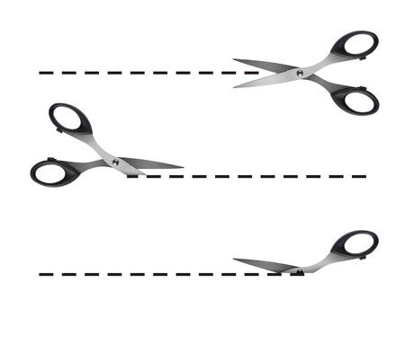 tijeras cortando: Tijeras de corte negro discontinua l�neas Foto de archivo