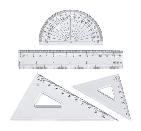 geometria: Rullers de pl�stico transparente aislados en blanco