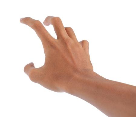 alzando la mano: masculina mano y brazo llegar a algo. aislados en blanco Foto de archivo