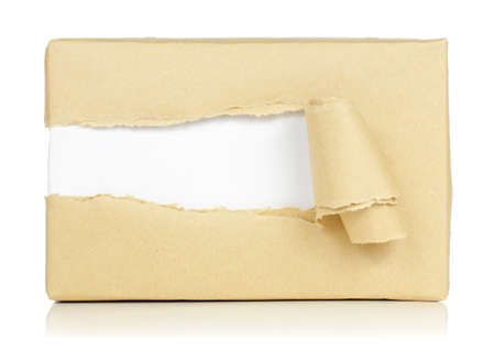 wrapped up: torn package Stock Photo