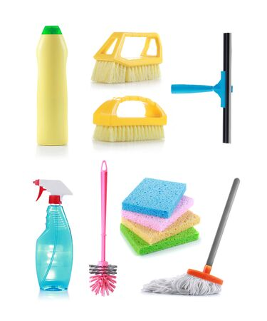 cleaning products: Different kind of cleaning products Stock Photo
