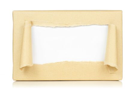 wrapped up: brown package paper torn