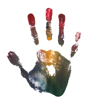 finger print: artistic colorful adult hand print