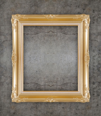 classic picture golden frame on the wall photo