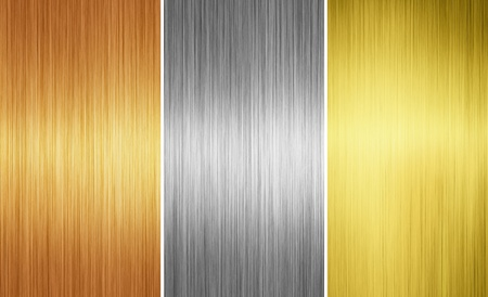 three different metal textures for background photo