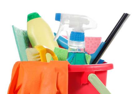 schoonmaakartikelen: schoonmaak producten binnen de container Stockfoto