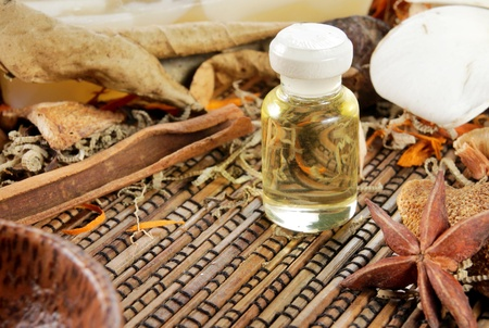 traquility: close up of herbal essence for spa Stock Photo