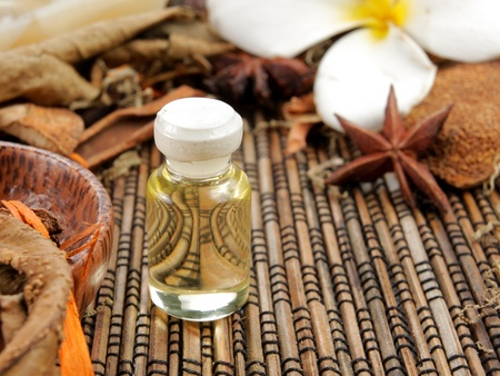 traquility: many spa product with small bottle of herbal essence Stock Photo