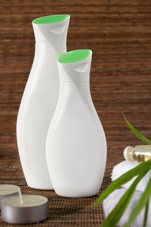 traquility: two bottles of spa products in different size Stock Photo