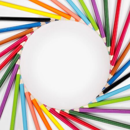 circle of life: color pencils frame with white background Stock Photo