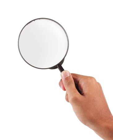 hand holding a magnifying glass Stock Photo - 9869667