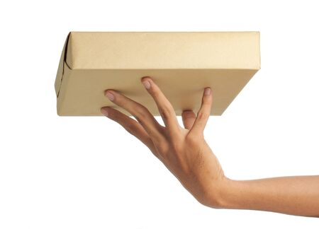 send parcel: hand delivery a package Stock Photo