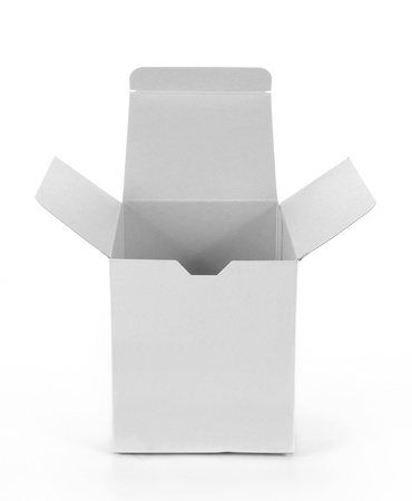 ship package: white empty cardboard box isolated on white background