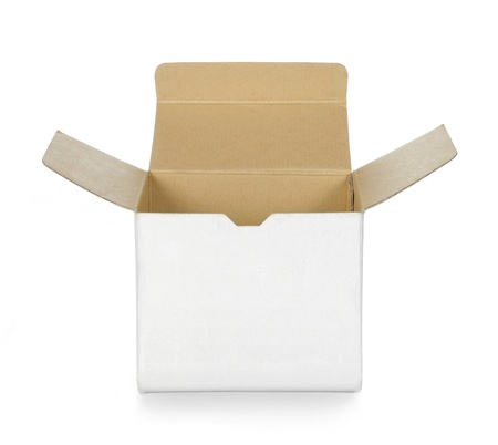 distribution box: empty opened white cardboard box