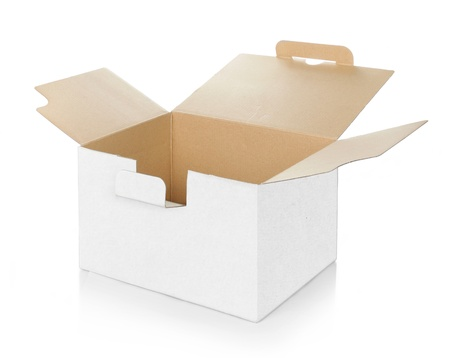 product packaging: blank empty cardboard box carton container Stock Photo