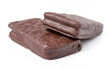 two pieces of delicious chocolate biscuits photo