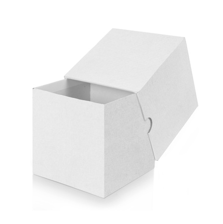 open empty white box isolated on white background photo