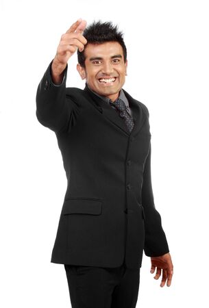 Young happy businessman isolated on white background photo