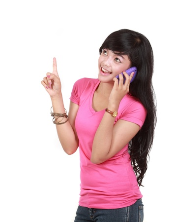 portrait of young attractive woman using cell phone Stock Photo - 10338446