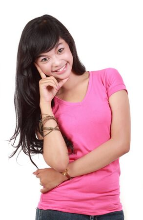 pretty young girl in pink smiling Stock Photo - 10338919