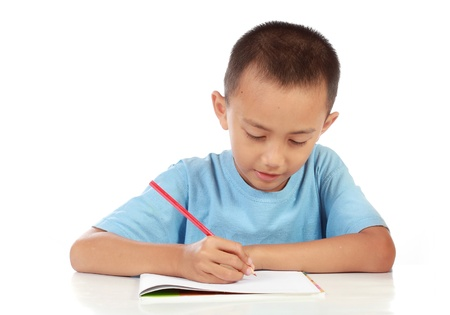 children writing: portrait of young boy studying against white background