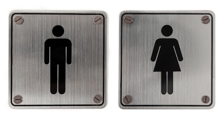 public restroom: metal restroom Signs isolated over white background