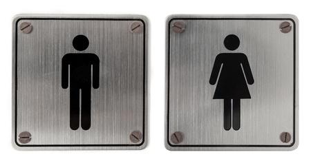washroom: Signos de ba�o metal aisladas sobre fondo blanco Foto de archivo