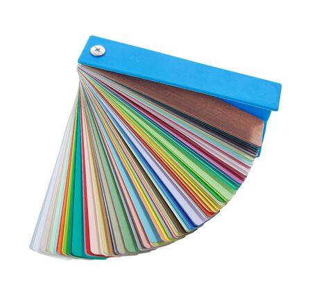 refurbishing: campioni di vernice colorata isolati su sfondo bianco