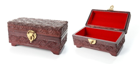 open and closed treasure chest isolated over white background photo