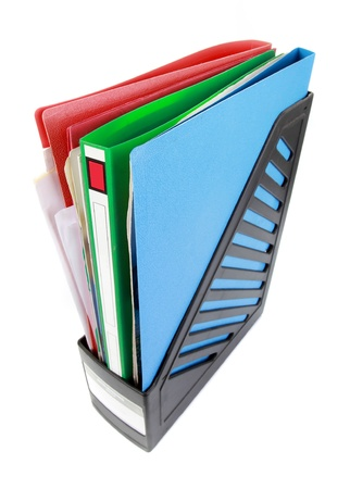 stack of files: Stack of document paper files isolated on white Stock Photo