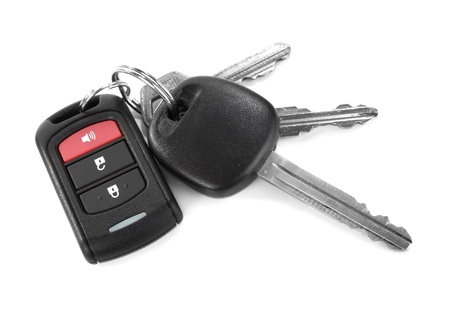 car lock: remote car key isolated on white background