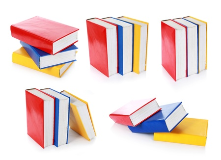 helical: collection of colorful book formation. isolated on white background