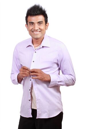 attractive asian young man wearing cloth isolated on white Stock Photo - 10391338