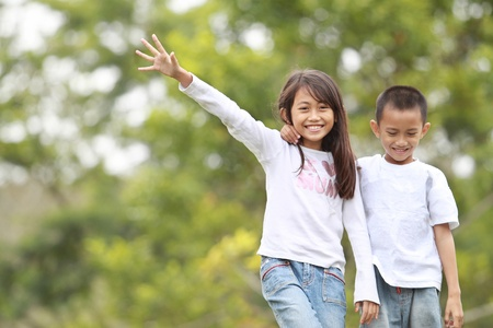 potrait of two kids family outdoor smiling Stock Photo - 10391147