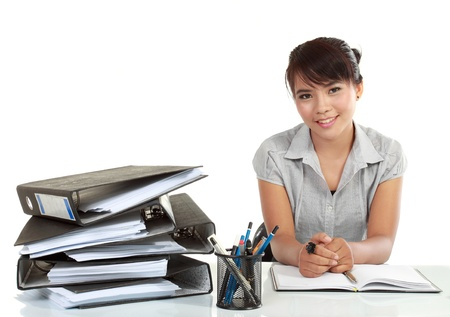 the bookkeeper: asia Smiling business woman working. isolated over white background Stock Photo