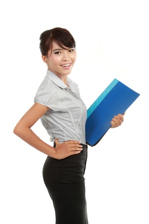 beautiful young business woman holding a report isolated on white Stock Photo - 10529180