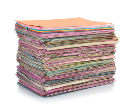 administration: Stack of folder files isolated on white