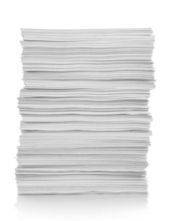 unorganized: stack of white paper with white background Stock Photo