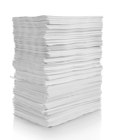 stack of paper:  stack of papers with clipping path on white background  Stock Photo