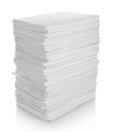 close up of stack of papers on white background with clipping path in isolated background photo
